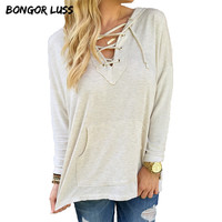 BONGOR LUSS New Spring Autumn Fashion Women Hoodies Sweatshirts Lace Up V-Neck Long Sleeve Hooded Pullover Sweatshirt Plus Size