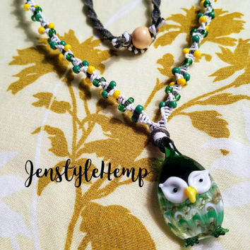Owl Glass Pendant Beaded Hemp Necklace