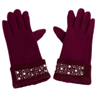 Knit Gloves With Beaded Foldover Wrist