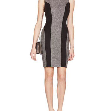 Susana Monaco Shennel Wool Contrast Panel Body Con Dress   Medium