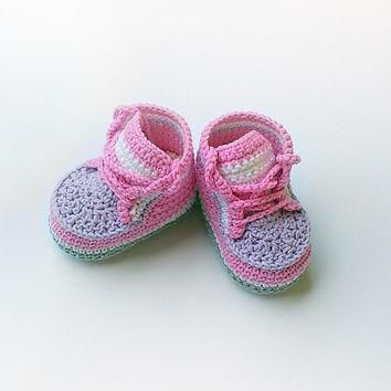 pink crochet baby sneakers pink crochet baby shoes pink converse shoes toddler croc