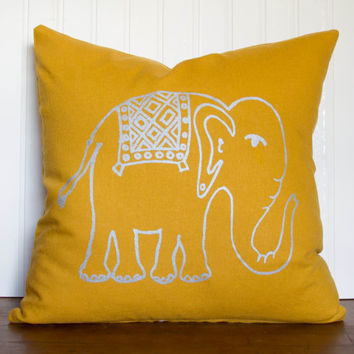 "Elephant Pillow- 16""x16"" Decorative Throw Pillow Cover with screen printed elephant in silver on mustard yellow"