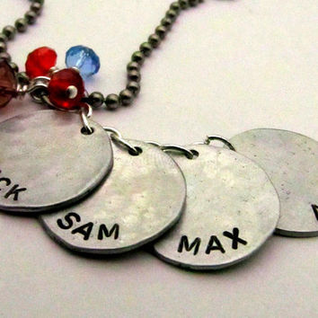 Personalized Mom Necklace - Bubble Necklace - Hand Stamped Jewelry - Custom Family Necklace Mothers Day Gift for Her