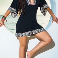 Leopard Accent Half Sleeve Mini Shift Dress