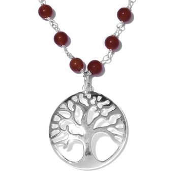 Quartzite Platinum Over Sterling Silver Tree of Life Necklace