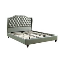 Opulent Queen Wooden Bed With PU Tufted Headboard, Silver