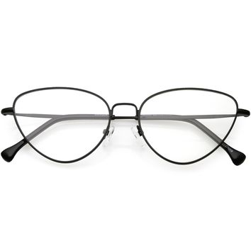 Women's Slim Metal Wire Clear Flat Lens Cat Eye Glasses C599
