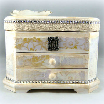 Shabby Chic Jewelry Box - One of a Kind Ivory Jewelry Box - Wedding Gift - Quinceanera Gifts - Elegant Jewelry Box - Unique Jewelry Box