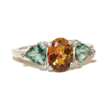Three Stone Ring, Mystic Stellar Topaz Ring, Green Quartz Accent Stones, Low Profile Ring