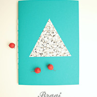 Marble Notebook  * Stone Journal * Teal Notebook * Marble Diary * Stone * Marble Gift * Marble * Turquoise  Marble * Triangle * Geometric