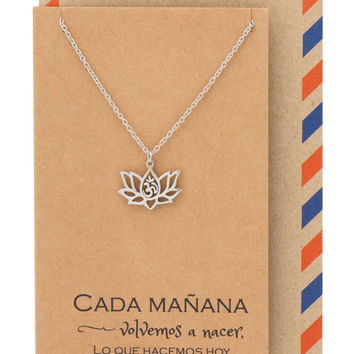 Connie Yoga Jewelry, Lotus Flower Om Necklace with Spanish Yoga Quotes