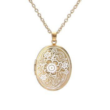 New Design Vintage Retro Flower Carved Oval Pendant Necklace Gold Color Beautiful Photo Locket Necklace Memory Love jewelry