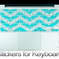 "Kuzy - Stickers Teal Hot Chevron Zig-Zag Keyboard Skin for MacBook Pro 13"" 15"" 17"" (with or w/out Retina Display) and MacBook Air 13-inch Stickers - Teal / Turquoise HOT Blue"
