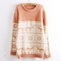 Deer Snowflake Round Neck Sweater For Women from chiccasesandhomeproducts