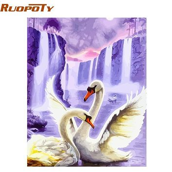RUOPOTY Frame Swan Animals DIY Painting By Numbers Wall Art Picture Acrylic Canvas