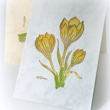 Spring Crocus Vintage card Handmade blank card Hand painted Flower card Letterpress embossed Easter Any Occasion Get well Birthday Note card