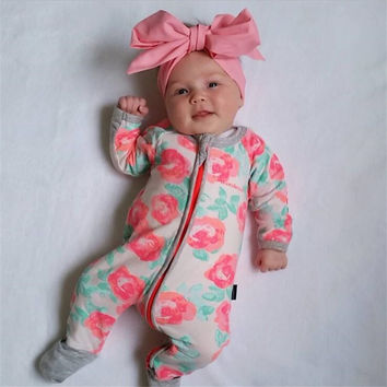 Autumn Winter Newborn Baby Clothes 2016 Baby Girl Clothing Jumpsuit  Romper Infant Costume Kids Sleepwear Pajamas Bebes Onesuit