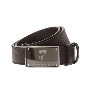 Versace Collection Medusa Buckle Brown Leather Belt 90 105