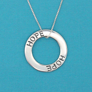 Hope necklace 925 Sterling silver washer pendant, encouragement gift for survivor, inspirational jewelry, get well gift