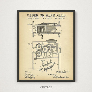 Wine Poster, Cider or Wine Mill Patent, Digital Download, Wine Print Liquor Spirits Drinks Wall Art Kitchen Art Vintage Wine Gifts Bar Decor