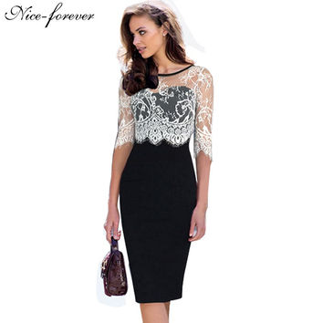 Nice-forever women vintage dress office dresses Autumn black Half White Lace Sleeve work bodycon Zipper Back pencil dress 935