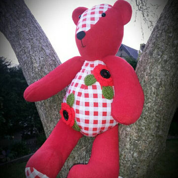 Handmade bespoke memory keepsake bear poppy if you go down to woods today teddy bears picnic all the memories in a bear crochet poppy flower
