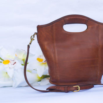 Vintage Classic British Tan COACH Mini Shopper Tote Handbag 9993