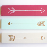 Wood Arrow Sign- Wooden Arrow- Arrow Wall Art-Pink-Mint-White-Gold-Modern Nursery-Home Decor-Hipster-Dorm Decor-Dorm Room-Gallery Wall