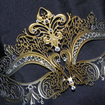 Gold and Silver Rhinestone Metallic Masquerade Mask with Gem Accents