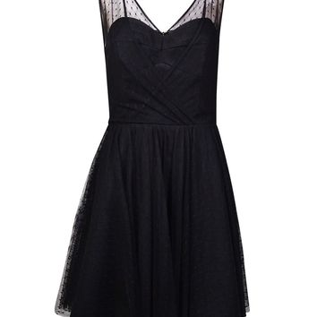 Betsy & Adam Women's Dobby Textured Mesh A-Line Dress