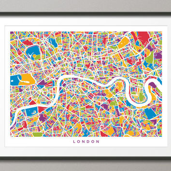London England Street Map, Art Print 18x24 inch (436)