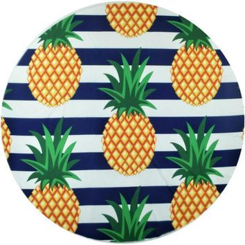 CREYONPR Color Blocking Pineapple Print Round Beach Blanket Towel