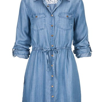 Tie Waist Long Denim Shirt Dress - Blue