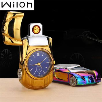 2017 Watch Lighter for gold Car model steel Men's toys collection cool Flameless Watch USB Charging ligther Clock Quartz watch