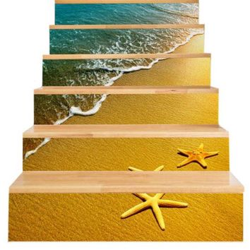 New 3D DIY PVC Waterproof  Stair Decals Wall  Floor Sticker Starfish QS024