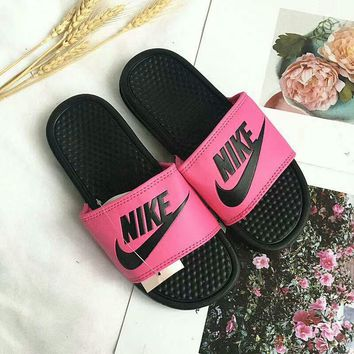 """Nike"" Summer Fashion Multicolor Letter Logo Slippers Women Home Sandals Flats Shoes"