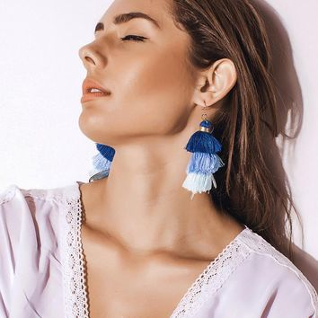 Handmade Three Layers Tassel Earrings Colorful Bohemian Style