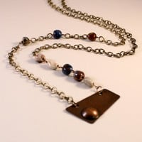 Roller Printed Copper Pendant on Necklace on 32 inches Brass Chains with Multi Color Jasper Beads