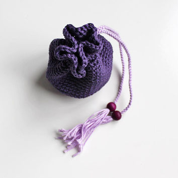 crochet little pouch lilac, lavender, purple // money pouch, medicine bag, crocheted purse - women, girls - ecofriendly gift