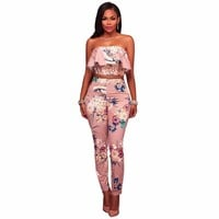 Sleeveless Short Top Floral Print Suits Women Ruffles Sweatsuit Autumn Sexy Bodycon Ladies Open Back Comfortable Two-piece Sets