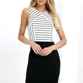 Stripe Office Lady Formal Occasion Women's Sheath Dress