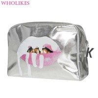 DCCKHG7 2017 Fashion 3D Print Red Mouth Pattern Cute Cosmetics Makeup Bag Beautician Cosmetic Storage  Cosmetic Bag Travel Organizer Bag