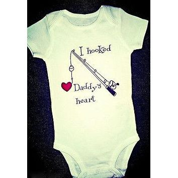 Fashion I Hooked Daddy's Heart Newborn Baby Boy Clothes Girl Babygrows Playsuit Rompers