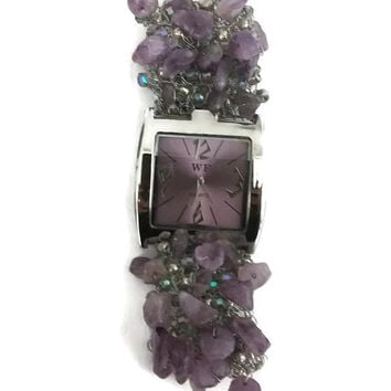 knitted jewelry bracelet watch cuff inlaid with Amethyst Mini Chip Gemstone Beads and siver beads sterling silver wire