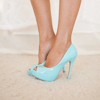 Open Toe Mint Heels