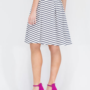 Nauti Or Nice Striped Rib Knit Skirt GoJane.com
