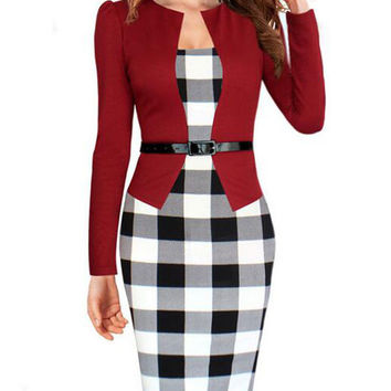 2016 Autumn Plaid Pencil Work Dress Long Sleeve Fake Two Pieces Square Collar Midi Bodycon Dress