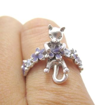 3D Kitty Cat Shaped Animal Ring on a Floral Band in Silver