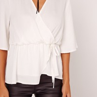 Missguided - Satin Elastic Waist Tie Front Blouse White