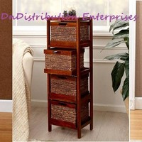 Shelf Tower with Baskets Wood Frame Storage Organization Bathroom Bedroom